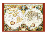 Karte von der Welt III Kunstdrucke
