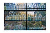 Vintage Blue Glass Bottles Against a Window Photographic Print by Henri Silberman