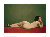Reclining Nude on Red Giclée-Druck von Félix Vallotton