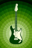 Electric Guitar Green Music Poster