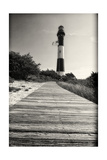 Wooden Path to the Lighthouse, Fire Island, NY Fotoprint van George Oze