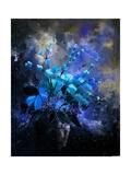 Still Life Blue Flowers Premium Giclee Print by Pol Ledent