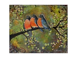 Birds Robins Family Portrait Poster di Blenda Tyvoll