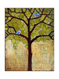 Tree Print Birds Boughs in Leaf