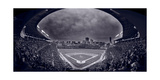 Wrigley Field Night Game Chicago BW Fotografie-Druck von Steve Gadomski
