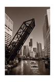 Chicago River Traffic BW Reproduction photographique par Steve Gadomski