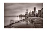 Chicago Foggy Lakefront BW Fotografie-Druck von Steve Gadomski