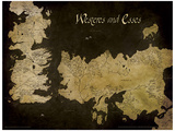 Game of Thrones - Westeros and Essos Antique Map Mestertrykk