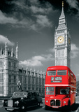 London Big Ben Bus and Taxi Poster