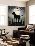 Moonrise Black Dog - Labrador Lake Poster von Ryan Fowler