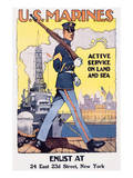 U.S. Marines, Active Service On Land And Sea Poster by Sidney H. Reisenberg