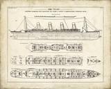 Titanic Blueprint Vintage I Giclée-tryk af  The Vintage Collection