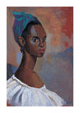 Turquoise Headscarf Premium Giclee Print by Boscoe Holder