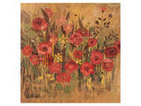 Floral Frenzy Red I Poster by Alan Hopfensperger