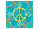 Peace Sign Floral Hearts I Print by Alan Hopfensperger