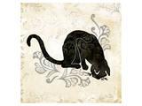 Sitting Burlap Cat Print by Alan Hopfensperger