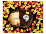 Snail painted Rose Petals Prints