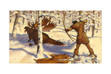 A Penobscot Indian Hunts a Moose in the Penobscot River Valley Giclee Print by W. Langdon Kihn