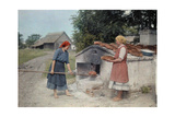 Two Peasant Women Bake Bread with an Old-Fashioned Stove Fotografisk tryk af Hans Hildenbrand