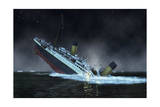 The Bow of the Titanic Plunges into the North Atlantic Ocean Giclee Print by Raymond Wong