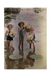 Amana Girls Standing in Water Holding Bunches of American Lotus Fotografisk tryk af J. Baylor Roberts