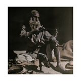 An Elderly Man Makes Leather Shoes with His Tools Photographic Print by Franklin Price Knott