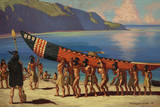 A Group of Chumash Indians Carry a Plank Canoe from the Water Giclee Print by W. Langdon Kihn