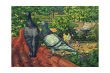 Two Park Pigeons Sit on Top of a Roof Giclee Print by Hashime Murayama