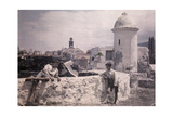 Two Boys Pose on a Balcony with the Tenerife Port in the Background Fotoprint av Wilhelm Tobien