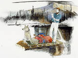 Keith Nyitray and His Dog Float Down the Chandalar River on a Raft Giclée-tryk af Jack Unruh