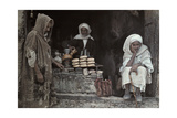 Tunisian Men Sit Outside a Bread and Olive Oil Shop Photographic Print by Franklin Price Knott