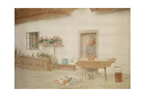 A Woman Washes Clothing in a Standing Tub Outside of a Cottage Giclee Print by Hans Hildenbrand