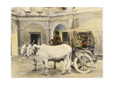 Teenage Girls Smile and Wave Out of a Canopied Wagon Drawn by Oxen Photographic Print by Franklin Price Knott