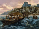 Cargo-Laden Canoes Follow Signal Fires to Shore Off Tulum Giclée-tryk af H. Tom Hall
