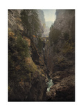 The Via Mala Gorge in the Crevasse of Two Mountains in the Alps Photographic Print by Hans Hildenbrand