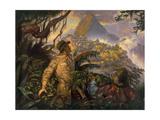 A Painting Depicting Hiram Bingham's Discovery of Machu Picchu, Peru in 1911 Giclee Print by Thomas Blackshear