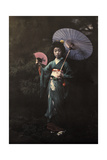 A Geisha Girl Poses in Her Kimono Photographic Print by Franklin Price Knott