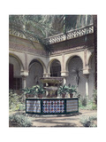 The Outdoor Garden Patio of a Moorish and Gothic Palace Fotografisk tryk af Austin A. Breed