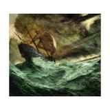 A 16th-Century Portuguese Trading Vessel Is Blown Off Course Giclée-Druck von Jon Foster
