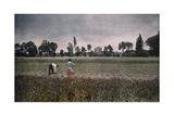 A Farmer Works the Fertile Landscape That Looks Out on Clery Church Fotografisk tryk af Gervais Courtellemont