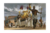 King Taharqa Leads His Queens Through a Crowd During a Festival Giclée-tryk af Gregory Manchess