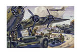 Soldiers Load Bombs into Planes as Propellers Raise Up Dust Giclée-tryk af Andre Durenceau