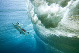 Underwater View of a Surfer with a Surfboard Fotografisk tryk af Andy Bardon