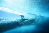 Underwater View of a Surfer with a Surfboard Trykk på strukket lerret av Andy Bardon