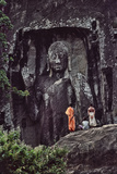 The Sasseruwa Buddha, or Ras Veheranear, Near Avukana, with a Buddhist Monk and Two Men Photographic Print by David Hiser