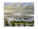 Argentinian Fleet in Channel of Paso De La Patria, April 23, 1866 Giclée-tryk af Candido Lopez
