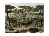 Establishing an Argentine Military Camp Along River Parana, Detail Giclee Print by Candido Lopez
