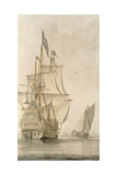 A Man-O'-War under Sail Seen from the Stern with a Boeiler Nearby Giclee Print by Cosimo Rosselli