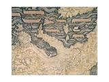 World Map, 1449, Detail: Italy Reproduction procédé giclée par Camille Pissarro