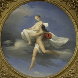Zephyr Carrying Psyche Fotografisk tryk af Francesco Primaticcio